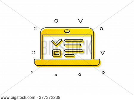 Notebook Or Laptop Sign. Online Education Icon. Web Presentation Or Internet Lectures Symbol. Yellow