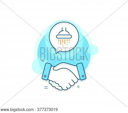Bathroom Sign. Handshake Deal Complex Icon. Shower Line Icon. Hotel Service Symbol. Agreement Shakin