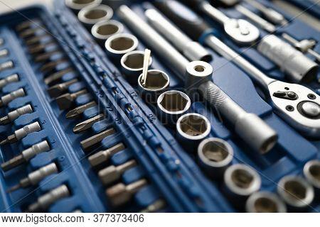 Set Of Tools For Car Repair In Box Closeup. Car Mechanic Tool Concept