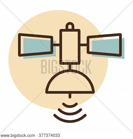 Satellite Vector Icon. Navigation Sign. Graph Symbol For Travel And Tourism Web Site And Apps Design