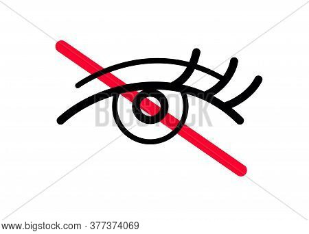 Private Icon. An Eye With Crossed Red Line. No Permission, No Content Or Image Allowed. Access Denie