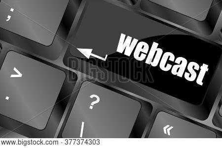 Black Keyboard Key With Webcast Web Button