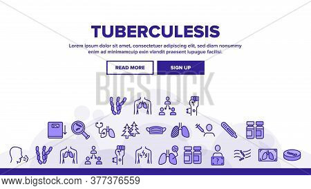 Tuberculosis Disease Landing Web Page Header Banner Template Vector. Healthy Lungs And With Tubercul