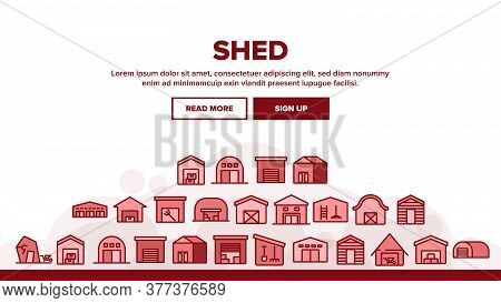 Shed Construction Landing Web Page Header Banner Template Vector. Shed Building For Storaging Pitchf