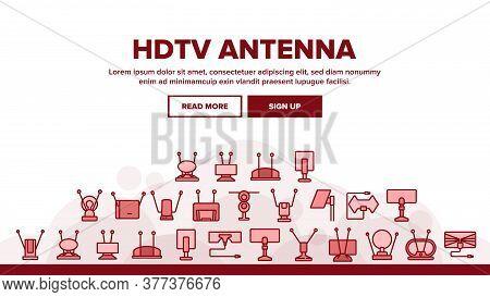 Hdtv Antenna Device Landing Web Page Header Banner Template Vector. Hdtv Antenna Gadget For Tv Broad