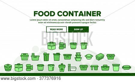 Food Container Package Landing Web Page Header Banner Template Vector. Plastic Container For Transpo