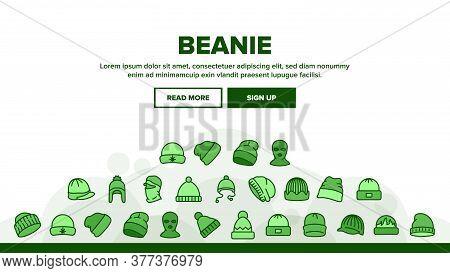 Beanie Seasonal Hat Landing Web Page Header Banner Template Vector. Beanie Cap And Head Facial Mask
