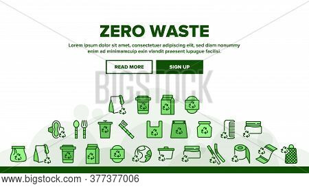 Zero Waste Reusable Landing Web Page Header Banner Template Vector. Zero Waste Package And Container