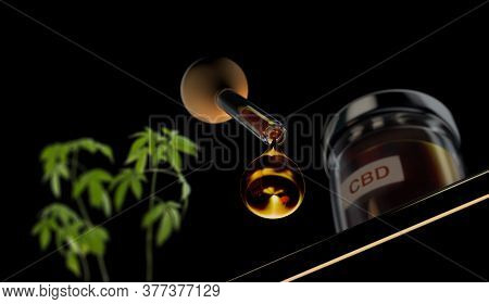 3d Illustration Of Droplet Dosing Medicinal Marijuana Hemp Cbd Oil With Glass Bottle And Marijuana H