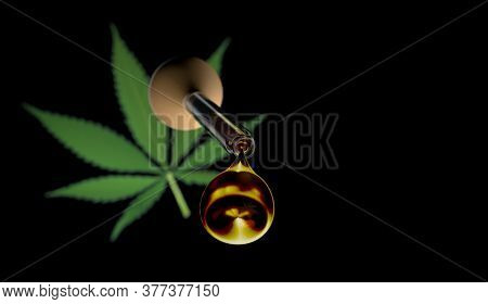 3d Illustration Of Droplet Dosing Medicinal Marijuana Hemp Cbd Oil With Marijuana Plants On Black Ba