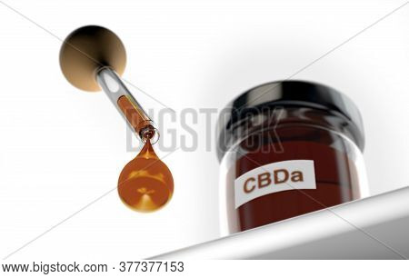 3d Illustration Of Droplet Dosing Medicinal Marijuana Hemp Cbd Oil With Glass Bottle With Cbda Oil