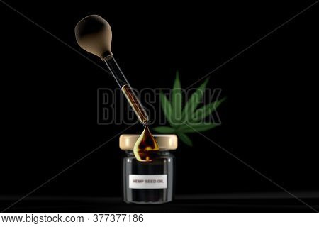 3d Illustration Of Droplet Dosing Medicinal Marijuana Hemp Cbd Oil With Glass Bottle With Hemp Seed