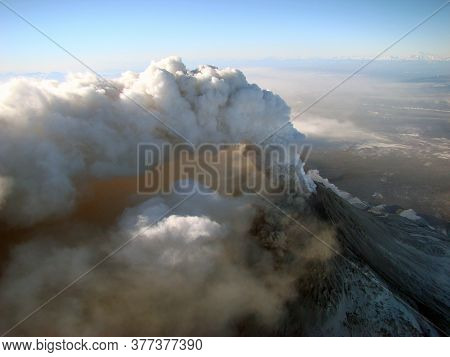 Active Volcano Erupting Lava And Clouds Of Volcanic Ash. Kizimen, Kamchatka Peninsula