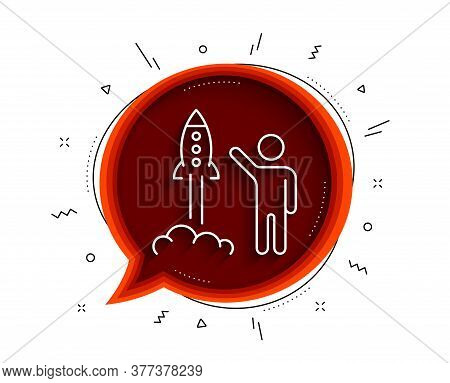 Launch Project Line Icon. Chat Bubble With Shadow. Startup Rocket Sign. Innovation Symbol. Thin Line
