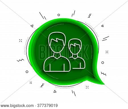 User Line Icon. Chat Bubble With Shadow. Couple Or Group Sign. Male Person Silhouette Symbol. Thin L