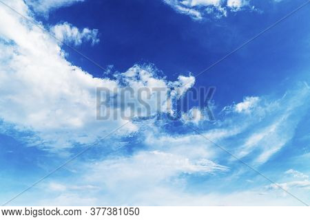 Atmosphere Blue Sky With White Cloud Ozone Weather Brightly Oxygen. Fluffy White Clouds In Blue Sky