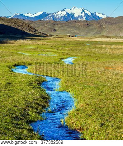 Small puddles and streams overgrown with grass. Pampas surround the snow-capped mountains. Argentina, Patagonia. Pampas of South America