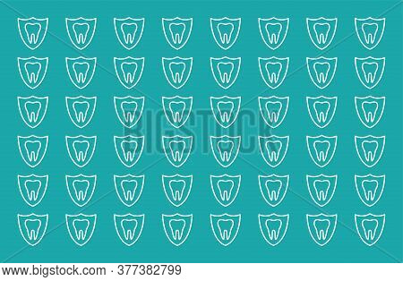 Seamless Pattern Of Dentistry Symbols: Dental Tools, Braces, Teeth, Implant, Toothache, Hygiene, Too