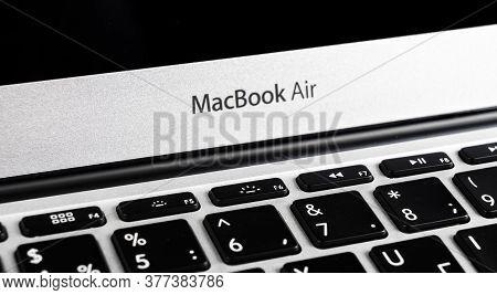 Sankt-petersburg, Russia, July 20, 2020: Modern New Laptop Macbook Air 13-inch. Macbook Air Close Up