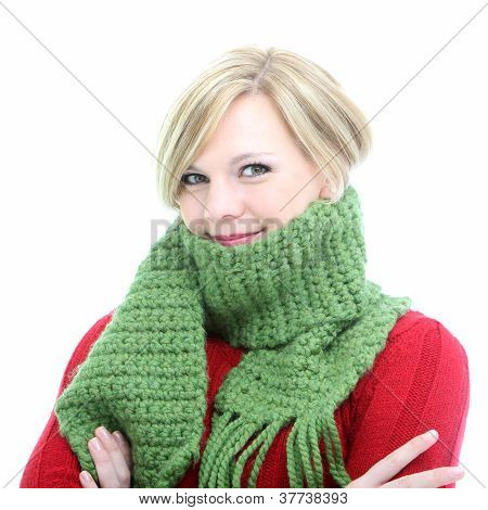 Woman Wrapped In A Winter Scarf