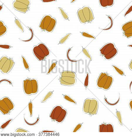 Vector Vegetables Bell Sweet Cayenne Chili Peppers Scattered On White Seamless Repeat Pattern. Backg