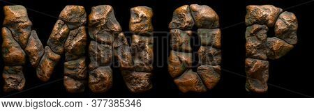 Set of rocky letters M, N, O, P. Font of stone on black background. 3d rendering