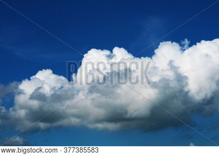 Beautiful Heap Dark Blue Sky White Cloud In The Autumn And Sunlight