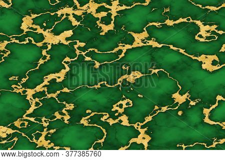 Mineral Gold Tiny Line Texture On Bright Greencolor Marble Luxury