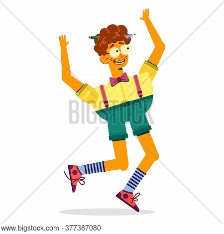 The Jumping Guy With Glasses Laughs Happily. Boy Moron In Glasses And Shorts Vector Illustration