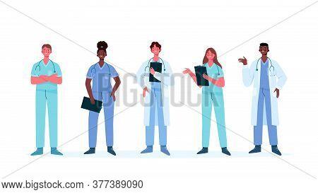 Set Of Doctors Characters. Medical Team Concept In Vector Illustration Design. Medical Staff Doctor