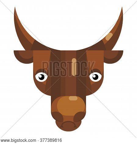 Stressed Bull Face Emoji, Upset Cow Icon Isolated Emotion Sign
