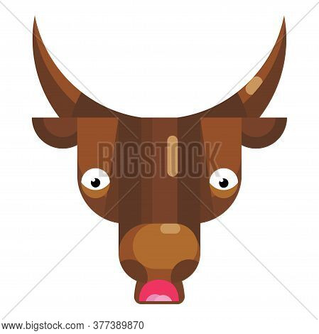 Shocked And Worried Bull Face Emoji, Confused Cow Icon Isolated Sign