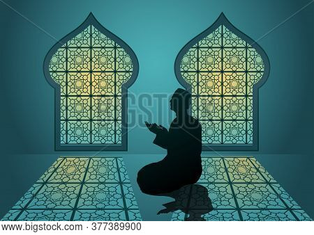 Ramadan Kareem With Arabic Traditional Window And Islamic Ornamental Detail Of Mosaic For Islamic Gr
