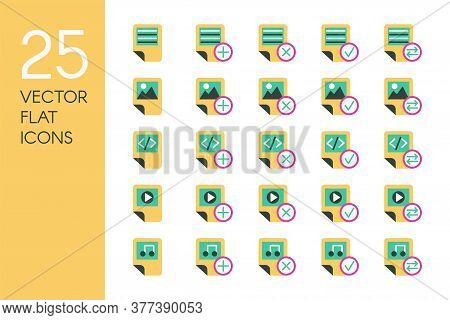Documents And Files Flat Vector Icons Set