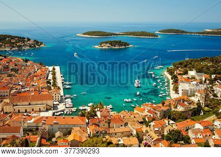 Port In Hvar Town, Croatia. View From The Fortress Of Spanjola
