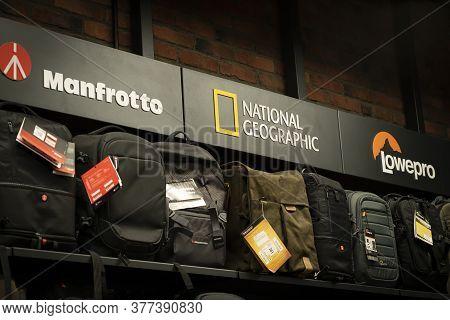 Krasnoyarsk, Russia, July 20, 2020: Manfrotto, National Geographic Lowepro Logo-a Showcase With Good