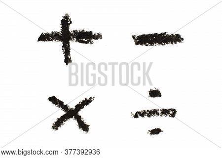 Black Color Oil Pastel Drawing In Mathematics Symbol Shape (plus, Minus, Multiply, Divide) Shape On
