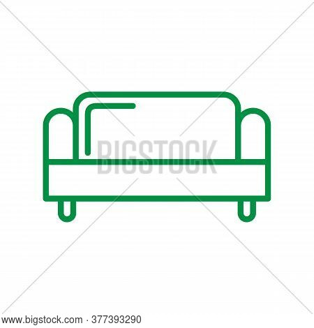 Couch Icon. Isolated Living Room Couch Illustration. Drop Shadow Sofa Icon. Modern Comfortable Furni