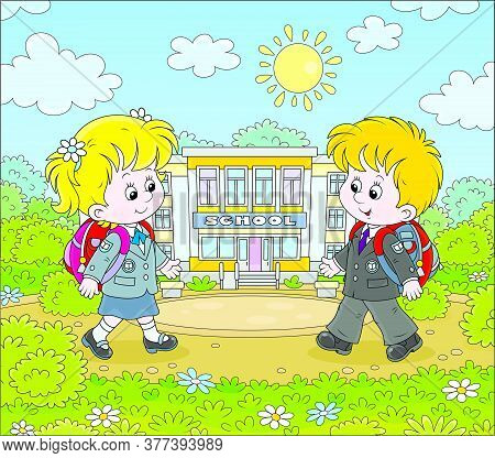 Happily Smiling Schoolchildren In Uniform With Schoolbags Going To Their School For Classes, Vector