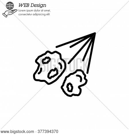 Meteorite, Comet, Meteor Icon Thin Line, Linear, Outline Vector. Comet, Meteorite, Meteor Simple Sig