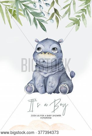 Cute Baby Hippo Hand Drawn Adorable Watercolor African Animals Illustration On White Background For