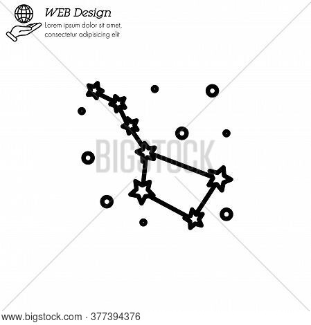 Constellation Ursa Major (big Dipper, Great Bear) Icon Thin Line, Linear, Outline Vector. Constellat
