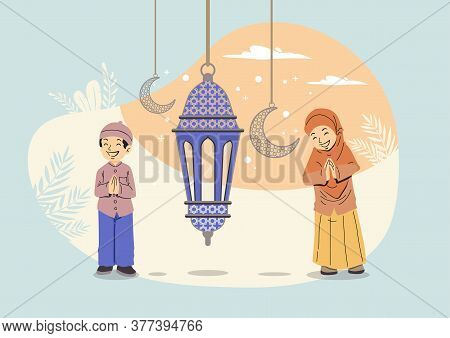 Ramadan Kareem With Arabic Traditional Lantern And Islamic Ornamental Detail Of Mosaic For Islamic G