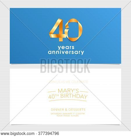 40 Years Anniversary Invitation Vector Illustration. Design Element With Number