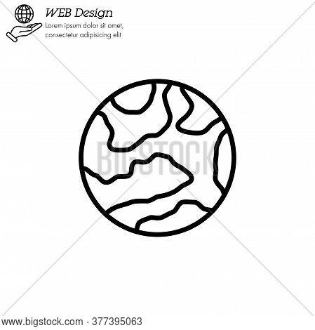 Mercury Planet Icon Thin Line, Linear, Outline Vector. Mercury Planet Simple Sign, Logo.