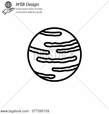 Neptune Planet Icon Thin Line, Linear, Outline Vector. Neptune Planet Simple Sign, Logo.