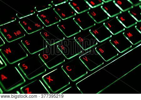 Close Up View Of A Modern Laptop Computer Keyboard Key With Green Buttonss. Pc Computer Keyboard Clo