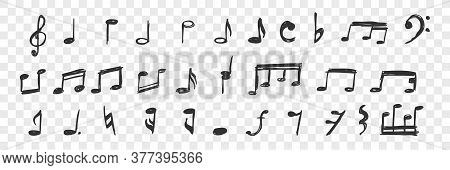 Hand Drawn Musical Notes Doodle Set. Collection Of Pen Ink Pencil Drawing Sketches Of Melody Signs A