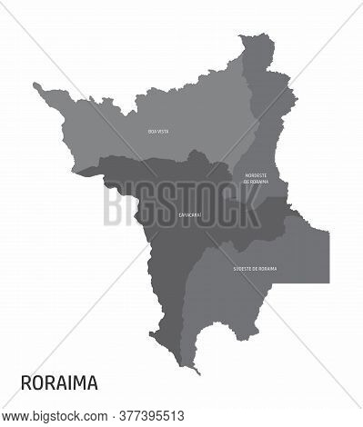 The Roraima State Regions Map With Labels On White Background, Brazil