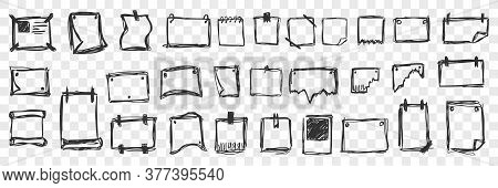 Hand Drawn Tablets Doodle Set. Collection Of Pen Ink Pencil Drawing Sketches Notebooks Sheets For Wr